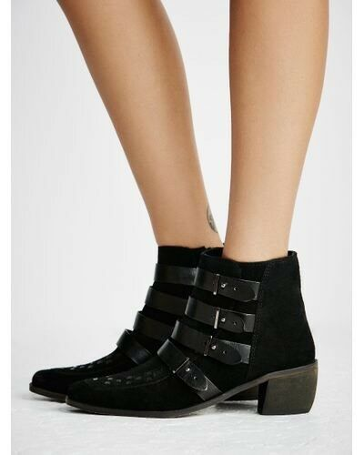 New Free People Ranger Ankle Buckle avvio in nero Suede MSRP  198 Dimensione 38