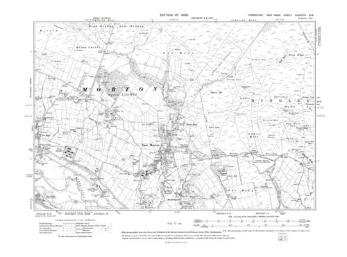Micklethwaite Repro 186 SW Yorkshire in 1909 Old Map of East Morton