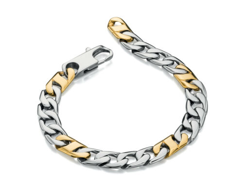 Fred Bennett Mens Stainless Steel Link Bracelet With Gold PVD Detail 22cm