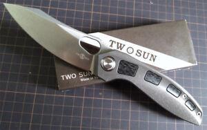 TwoSun Knives Outdoor Carbon Fiber Titanium Flipper Pocket Folding Knife TS306