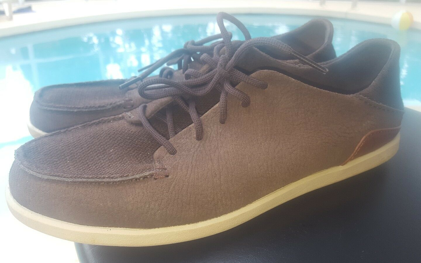 OluKai Uomo Manoa Pelle 5 eye lace up Marlin/Toffee. Taglia 8.5