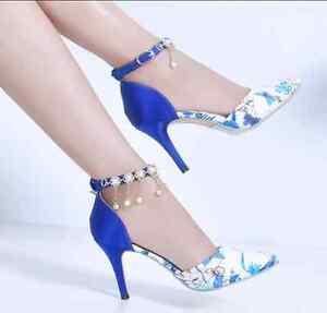aa449e1e2 Women s Rhinestone Pointed Toe Stilettos High Heels Shoes Wedding ...