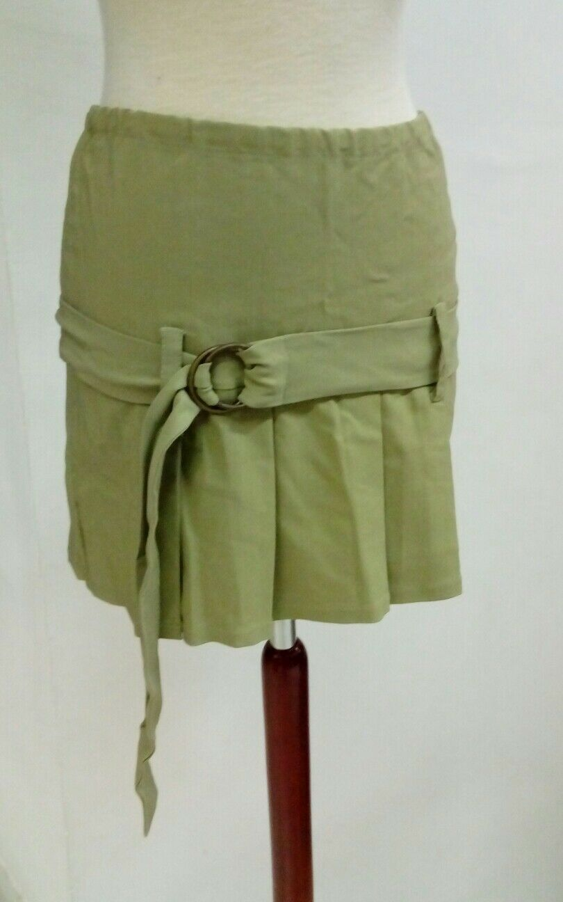 Bonita SKIRT woman short summer green pleated fold size 40 NEW Ref. 2.1.10