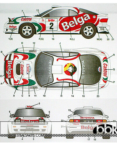 TOYOTA CELICA GT FOUR ST185 BELGA BOUCLES SPA 1994 DECAL for 1 24 TAMIYA