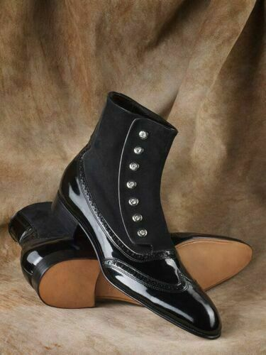 Handmade Black Patent Leather Ankle High Buttoned Boots for Men Boots for Men