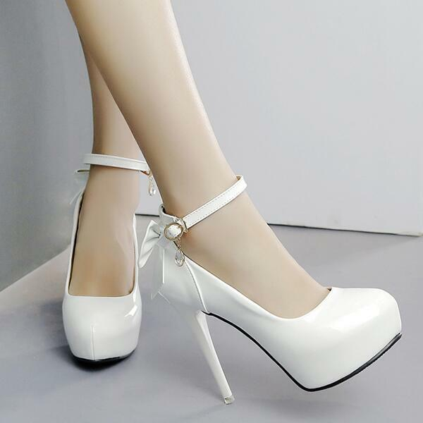 decolte stiletto 12 eleganti bianco cinturino plateau cinturino simil pelle 8204