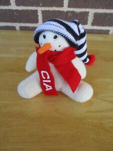 "Snowman ""Snowdrop"" White 7"" Plush Beanie C I A Graphic Neck Scarf Knit Ski Cap"