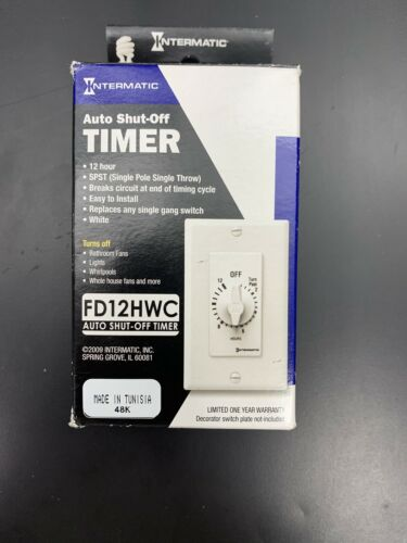 Auto Turn Off Timer New In Box INTERMATIC FD12HWC 12 Hour Time Spring Wound