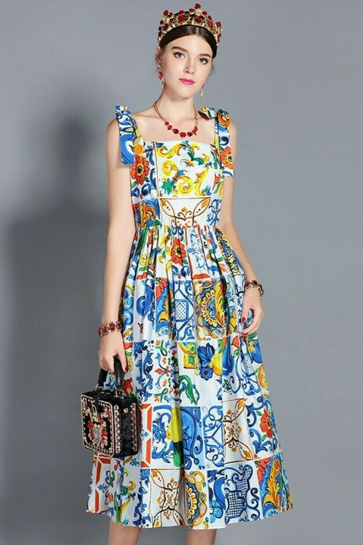 PUL New daMänner Mode Summer Bow Spaghetti Strap Printed Cotton Midi Kleid