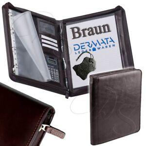 Braune Schreibmappe ECHT LEDER Aktenmappe DIN A4 Dokumentenmapp<wbr/>e Ordnungs Brown