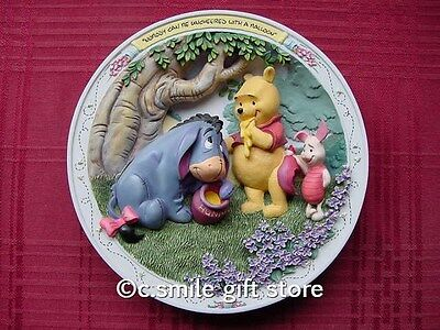 Disney *NOBODY CAN BE UNCHEERED WITH A BALLOON* Pooh 3D plate Bradford MIB COA