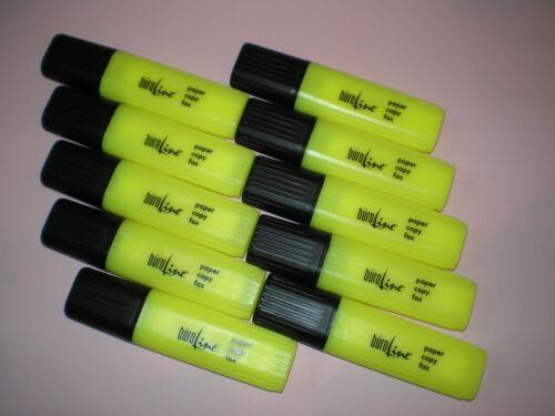 10 Stk Textmarker gelb mit Keilspitze 2-5mm Marker Leuchtstift Markierstift NEU