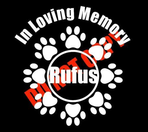 In Memory of Dog Custom Car Vinyl Decal Window Sticker Paw Prints Cute Love Pet