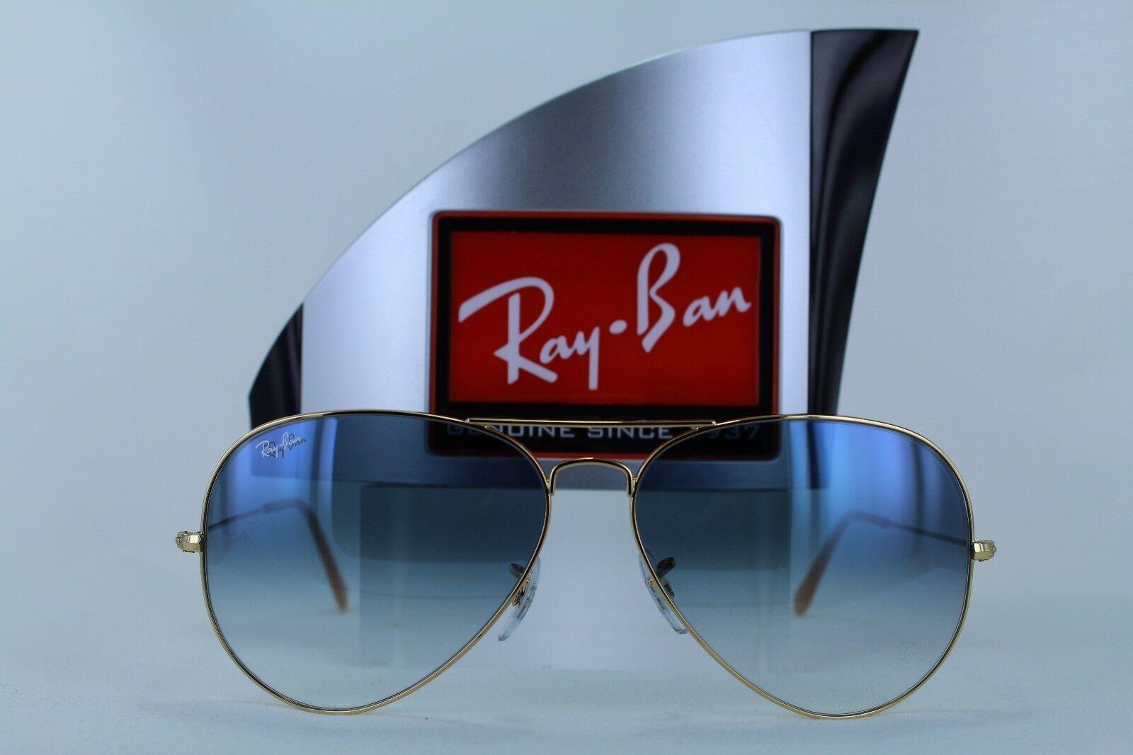 db9ba14da5a Ray Ban RB3025 Classic Aviator 001 3F Blue Gradient Lens 62mm Gold  Sunglasses for sale online