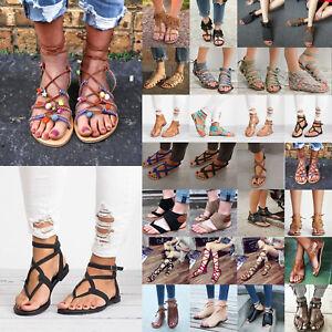 5c3a3197d1e Women Gladiator Sandals Ankle Strap Flip-Flops Clip Toe Flat Summer ...