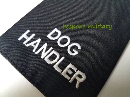 Details about  /Epaulettes Badge Sliders DOG HANDLER  Silver on Black Cloth Sold as Pair NEW