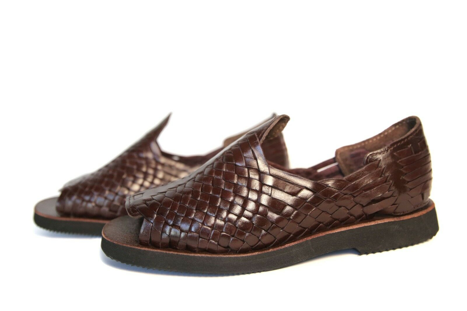AUTHENTIC MENS HUARACHE SANDALS. MEXICAN SANDALS. OPEN TOE BROWN  68