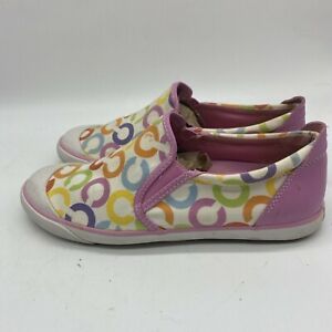 Pink-White-Multi-Coach-BEALE-Canvas-Slip-On-Shoes-Size-8-5
