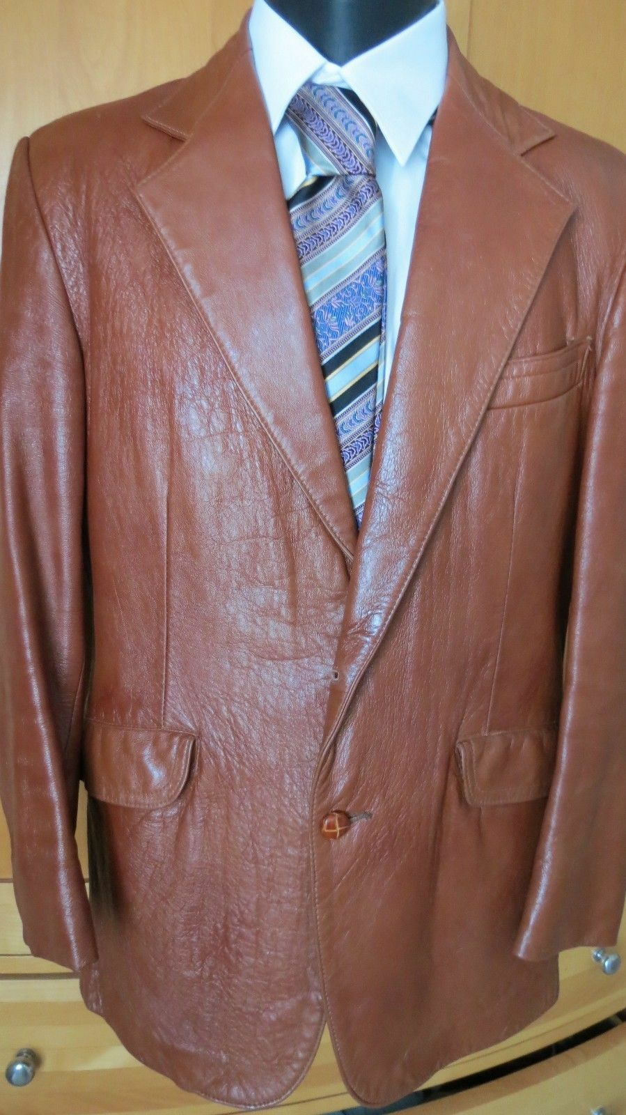 Vtg Angel Skin Cabretta Grais  70's Russet Soft Leather Blazer Sports Coat 38 R