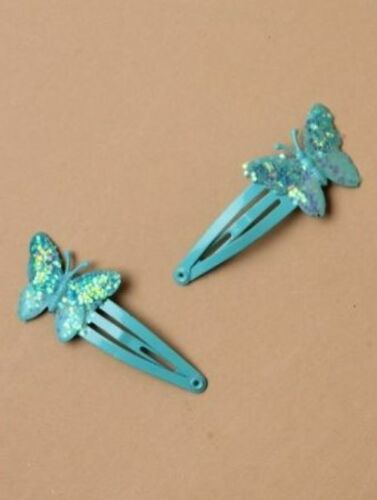 Ladies Childrens Girls Kids Pair of 4cm Sequin Butterfly Hair Grip Clip Slides