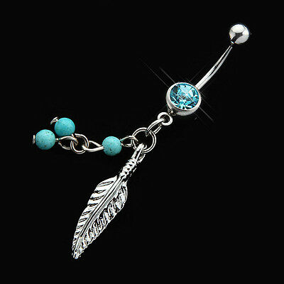 Crystal Ball Leaf Dangle Navel Belly Button Bar Barbell Ring Body Piercing New