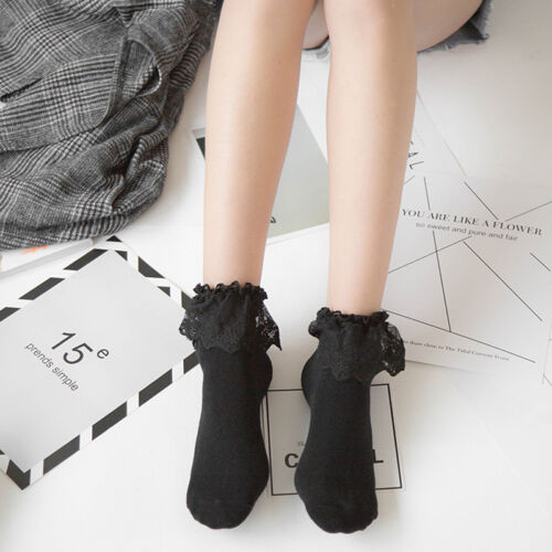 Sweet Cute Retro Woman Girl Lolita Ruffle Cotton Lace Princess Socks Meias Sox