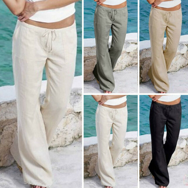 Women Casual Stylish Solid Color Beach Wide Leg Pants Long Palazzo Trousers 2017
