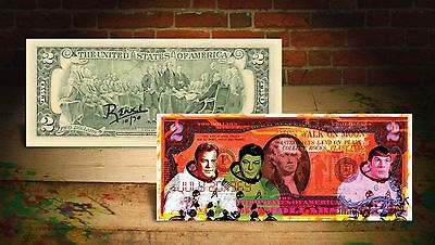 Astronauts & Space Travel Motivated Star Trek Orange Moon Nasa By Rency Art Colorized Genuine Us $2 Bill #/70 Banksy