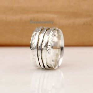 Solid-925-Sterling-Silver-Spinner-Ring-Meditation-Ring-Statement-Ring-Size-RA41