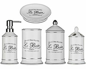 5 pezzi le bain shabby chic in ceramica bianco bagno accessori set bagno storage ebay - Accessori bagno le bain ...