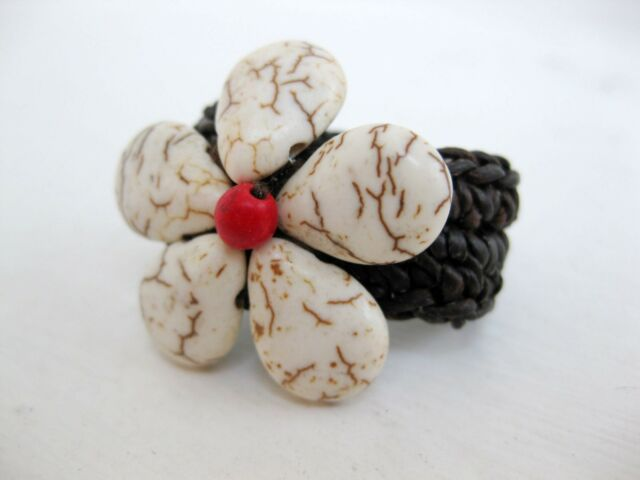 Handmade Thailand Ring White woven Red Flower FAIRTRADE Jewelry Adjustable craft