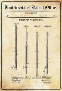 US-Patent-Billard-Ko-Queue-Cue-1914-Blechschild-Schild-Metal-Tin-Sign-20-x-30-cm