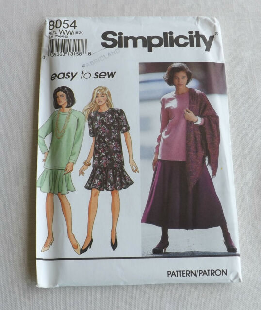 Simplicity Sewing Pattern 8054 ~ Misses Skirt, Tunic, & Scarf Size WW (18-24)