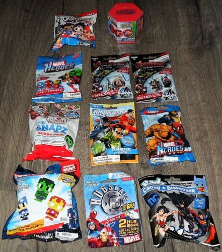 MARVEL /& DC LOT OF 11 ITEMS BLIND BAGS RADZ,CHIBIS,BLASTEMS,TAGS,MAGNETS /& MORE