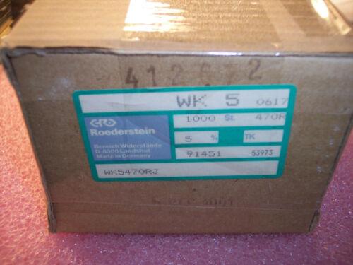 100 QTY 470 Ohm 3W 5/% HIGH POWER METAL OXIDE RESISTORS WK5-470R-5/% ROEDERSTEIN