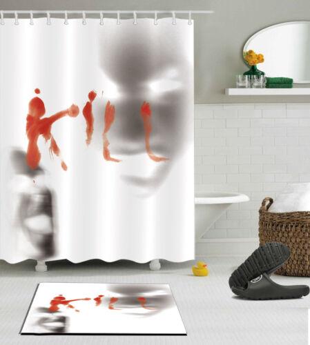 """60//72//79/""""Horror Blood Face Decor Waterproof Polyester Shower Curtain /&Mat /&Hooks"""