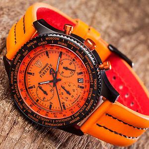 DETOMASO-Firenze-Herren-Armbanduhr-Chronograph-Zifferblatt-Orange-Schwarz-Neu