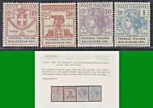 ITALY-REGNO-1924-PARASTATALI-FEDERAZ-ITALIANA-BIBBL-POPOL-S-2906-4v-MNH-CERT