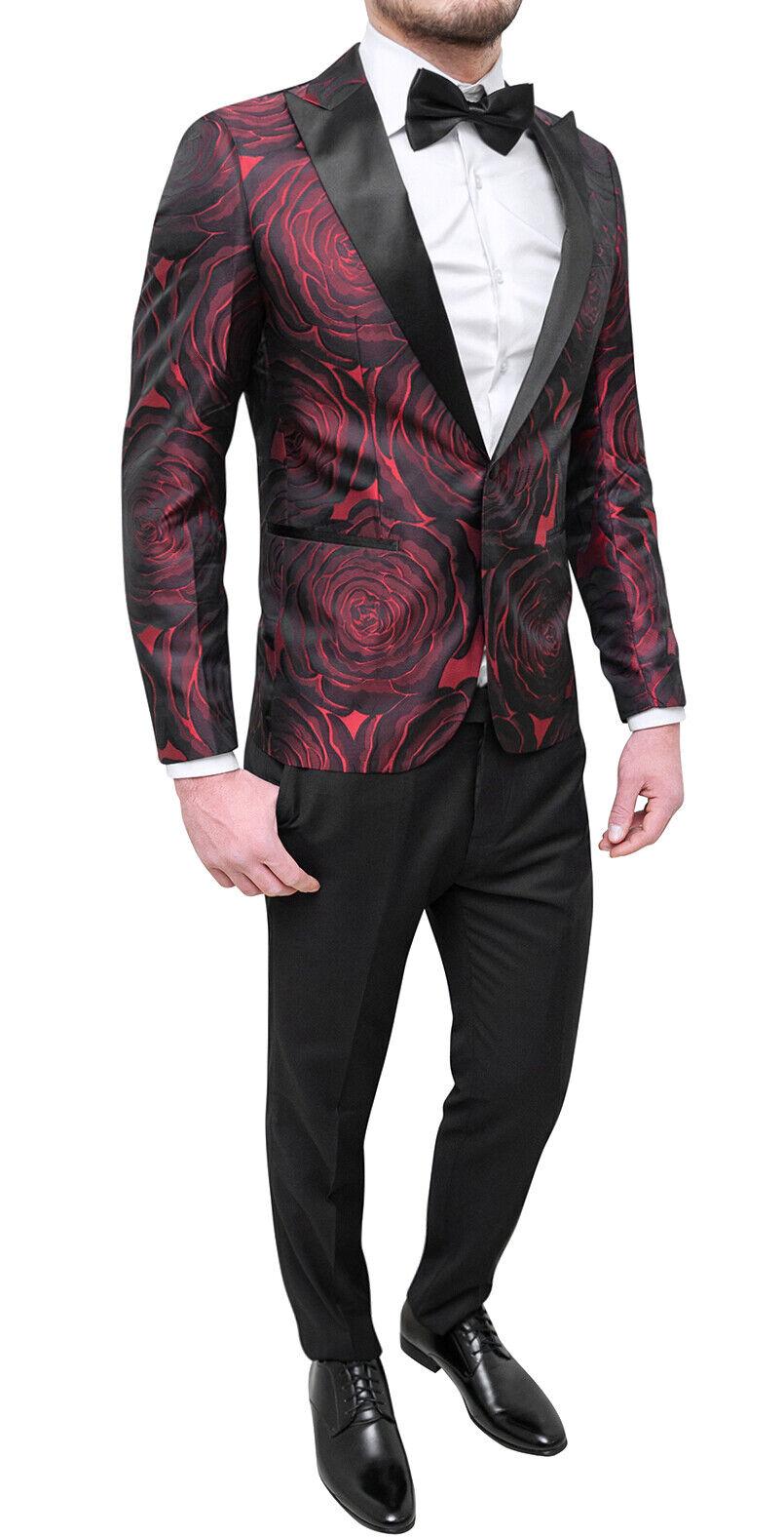 Suit Complete Man Satin Floral Red Smoking Elegant Groom Wedding Gift-