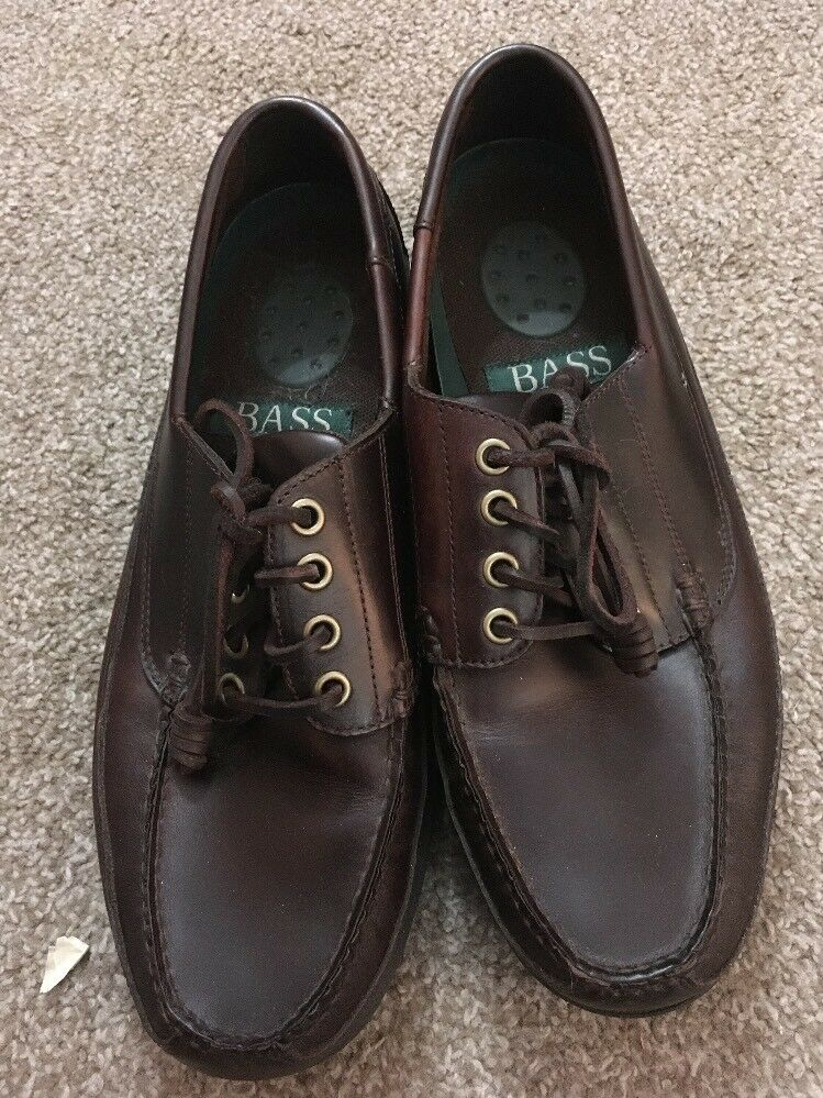 Mens Bass Clouser Brown Leather Upper shoes Size 10W