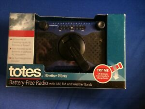 Totes Weather Works Emergency Battery-Free Radio--AM/FM, Weather Bands Brand NEW