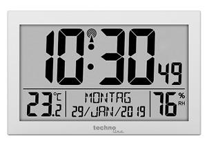 Technoline WS8016 WS 8016 Funk-Wanduhr mit Temperaturanzeige, Kunststoff, silber