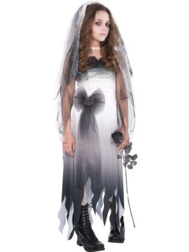 Le ragazze Teen Cimitero Sposa Cadavere Costume Halloween Fancy Dress New 12-16 anni