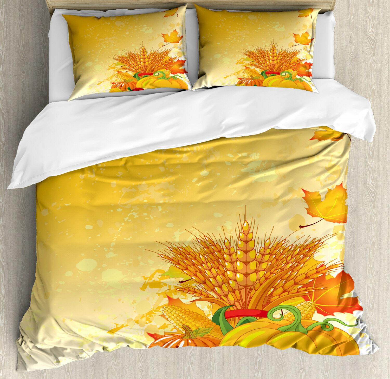 Harvest Duvet Cover Set with Pillow Shams Festive Fall Collection Print