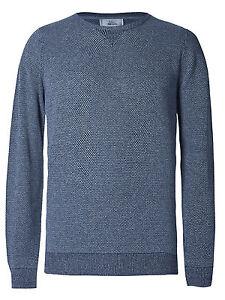 Mens-M-amp-S-Denim-Textured-Pure-Cotton-Crew-Neck-Jumper-LS-size-Small-rrp-29-New