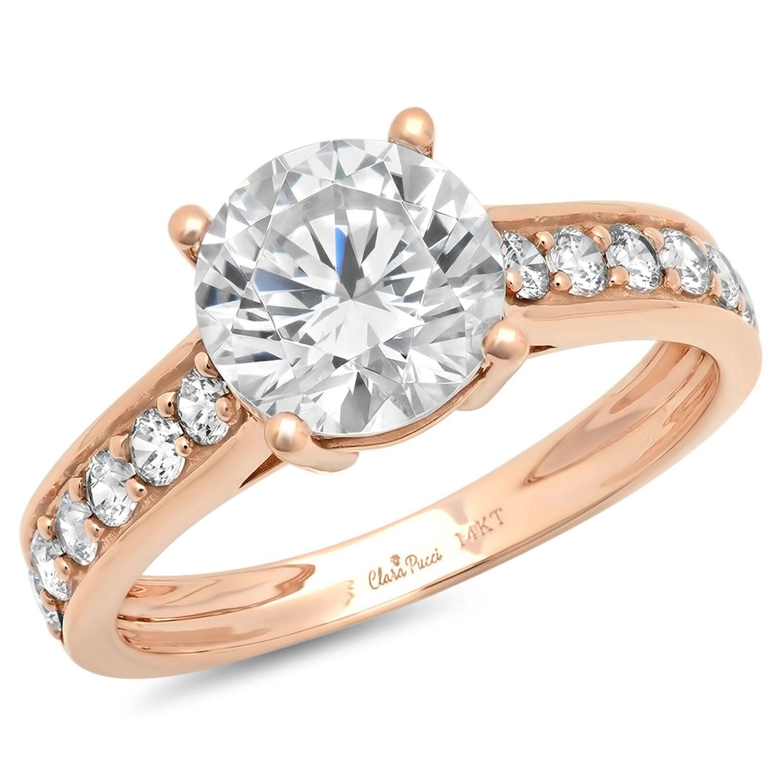 2.45ct Round Cut Wedding Bridal Engagement Anniversary Gift Ring 14k pink gold