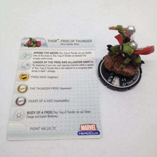 Heroclix Hammer of Thor set Thor, Frog of Thunder #100 Chase figure wcard!