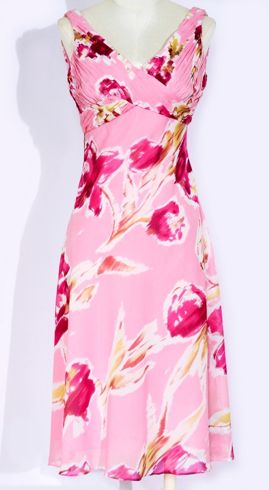 NWT ADRIANNA PAPELL FLAMINGO PINK FLORAL PRINT LINED EMPIRE WAIST DRESS SIZE 4