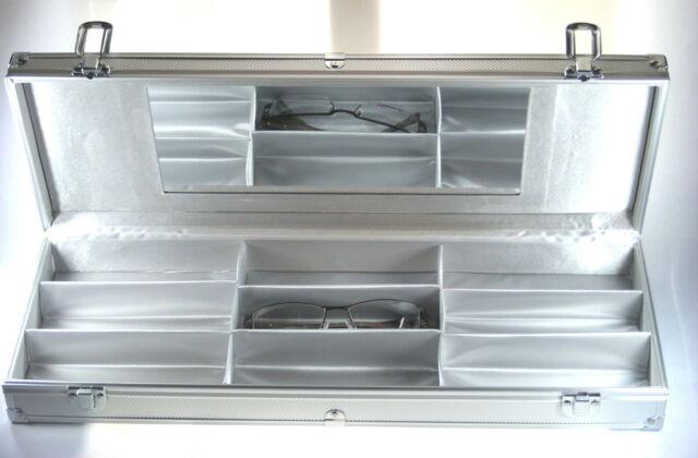 Brillenkoffer Brillenkiste Brillenbox, Alu mit Spiegel, für 9 Brillen - NEU