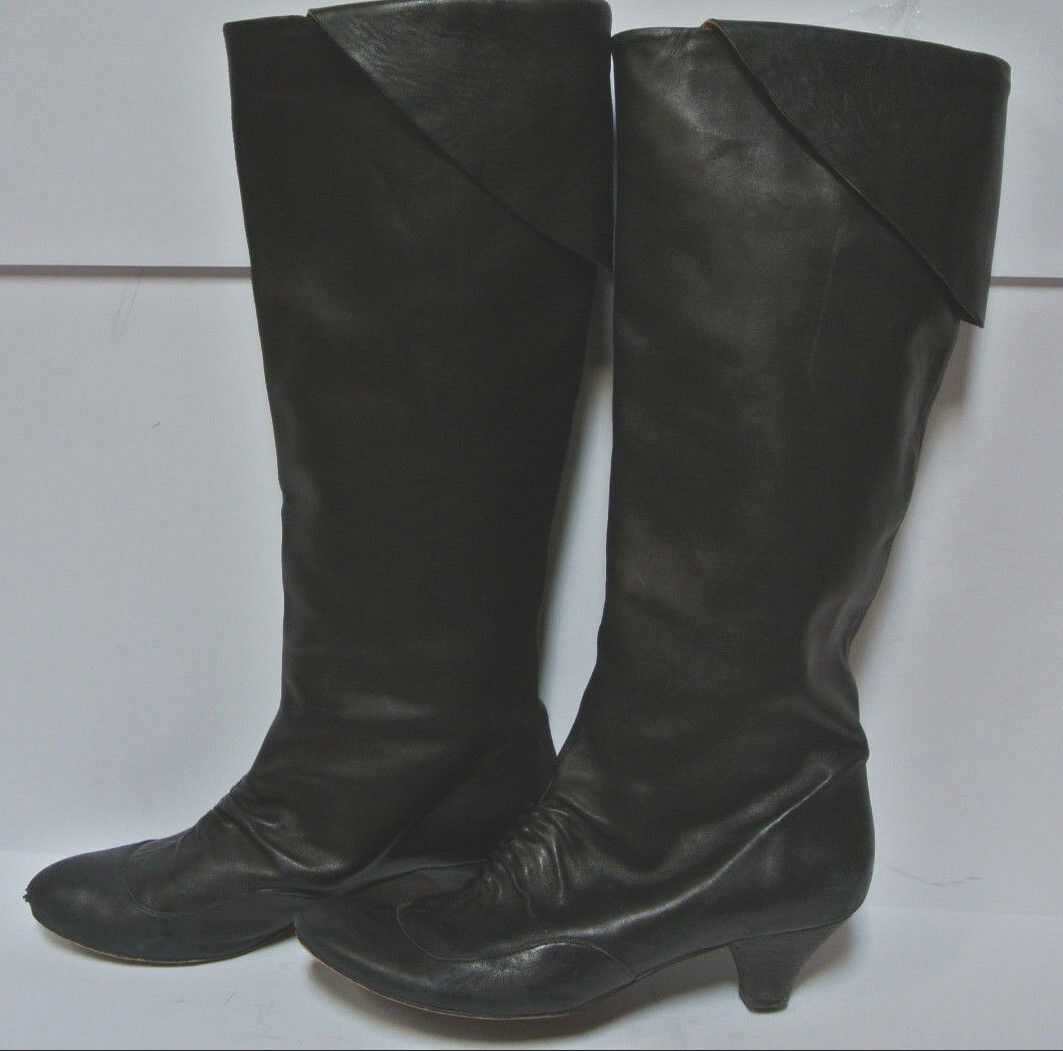COCLICO Black Leather Knee High Tall Boots -  38.5 8.5 -  Soft  Pleated Pull On